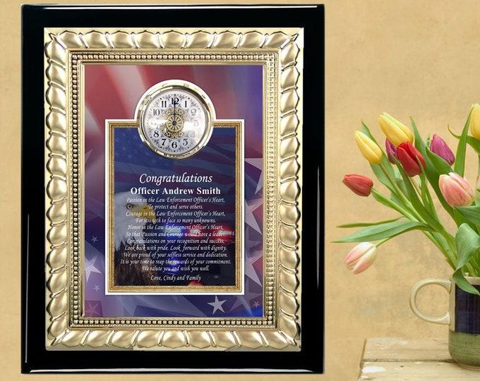 Cops Policeman Sheriff Service Award Retirement Plaque Clock Gift Present Law Enforcement Engrave Sergeant State Trooper Highway Patrol