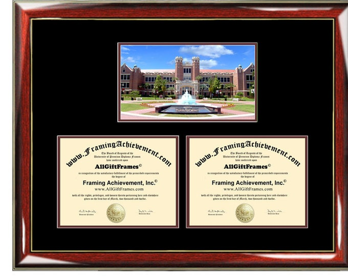 Florida State University Double Diploma Frame Campus Photo FSU Dual Certificate Two Degree Framing Holder Case 2 Graduation Graduate Gift