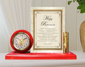 Unique Retirement Gift Employee Poem Metal Gold Clock Plaque Frame Colleague Years of Service Coworker Boss Friend Retiree Recognition Award
