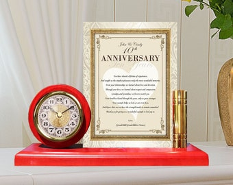 Personalized Wedding Anniversary Parents Mom Dad Gift Father Mother Happy Unique Gold Metal Clock Plaque Poetry from Daughter Son Children