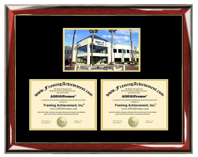 DeVry University Double Diploma Frame Campus Photo Dual Certificate Two Degree Framing Holder Case 2 Graduation Graduate Gift Framing Grad