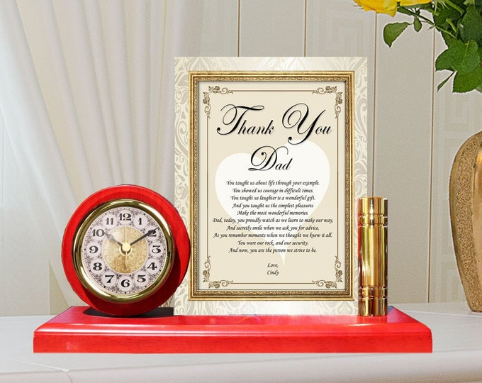 Personalized Gift Dad Gold Metal Clock Plaque Unique Poetry Father Gift Love Poem Desk Clock Fathers Day Birthday Wedding Appreciation