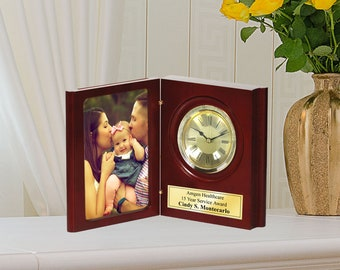Folding Bookcase Photograph Engraved Desk Clock Personalized 4x6 Photo Picture Employee Appreciation Gift Present Anniversary Wedding Case