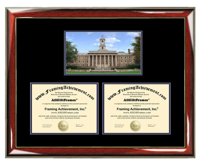 Pennsylvania State University Double Diploma Frame Campus PSU Dual Certificate Two Degree Framing Holder Case 2 Graduation Graduate Gift