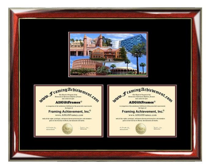 ASU Double Diploma Frame Campus Arizona State University Dual Certificate Two Degree Framing Holder Case 2 Graduation Graduate Gift Framing