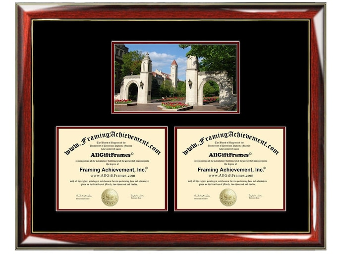 Indiana University Bloomington Double Diploma Frame Campus Dual Certificate Two Degree Framing Holder Case Graduation Graduate Gift Framing
