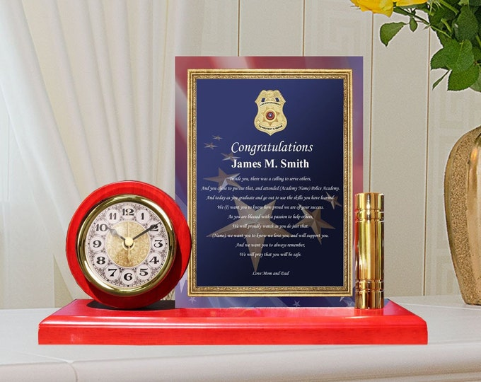 Personalized Police Officer Academy School Graduation Gift Sheriff Clock Metal Gold Poem Plaque Trooper Law Enforcement School New Graduates