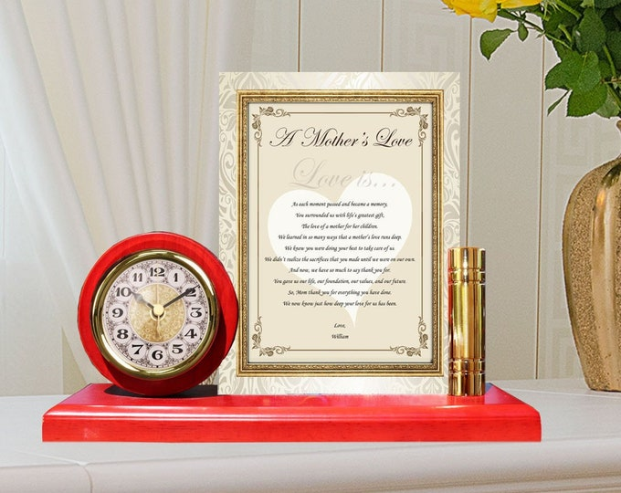 Personalized Gift Mom Gold Metal Clock Plaque Frame Poetry Wedding Mother Gift Love Poem Desk Clock Mothers Day Birthday Appreciation