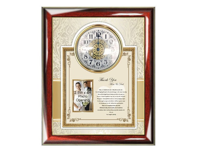 Parents Thank You Wedding Gift Poetry Clock Picture Frame from Bride Daughter or Groom Son Personalized Wedding Photo Frame