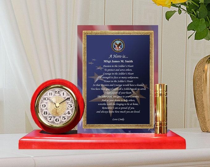 Military Gift Poem Metal Gold Desk Clock Plaque Frame Army USMC Marine Corps USAF Navy Air Force Soldier Recognition USN Retirement Award