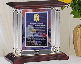 Police Retirement Promotion Gift Cops Sheriff Deputy Officer Trooper Corrections Probation Law Enforcement Silver Desk Mantel Swivel Plaque