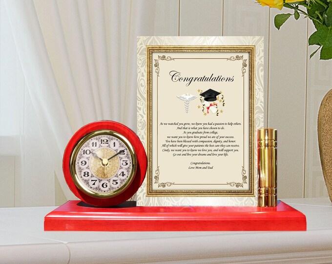 Unique Gift Medical Doctor Physician Medical School Graduation Congratulation Poem Metal Gold Clock MD DO Medicine Osteopathic Graduates
