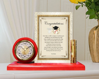 Personalized Graduation Gift Gold Metal Clock Plaque Custom Medical School Law Dental Pharmacy Nursing Parent Mom Dad Graduate Son Daughter