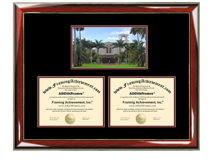 Barry University Double Diploma Frame Campus Dual Certificate Two Degree Framing Holder Case 2 Graduation Graduate Gift College Plaque