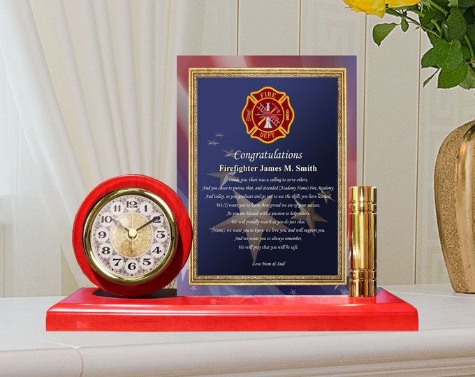 Personalized Firefighter Fire Academy School Graduation Gift Clock Metal Gold Poem Plaque Holder Fireman Academy School Graduates Firehouse