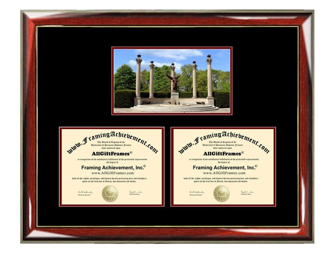 Ball State University Double Diploma Frame Campus BSU Dual Certificate Two Degree Framing Holder Case 2 Graduation Graduate Gift Framing