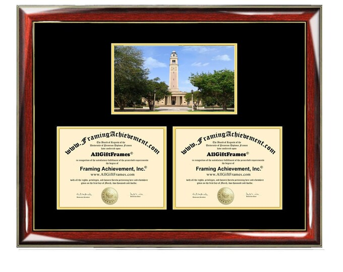 LSU Double Diploma Frame Louisiana State University Campus Photo Dual Certificate Two Degree Framing Holder Case 2 Graduation Graduate Gift