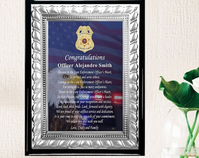 Law Enforcement Retirement Plaque Award Silver Policeman Sheriff Service Award Department FBI Homeland Security CIA NSA Promoted Retiree