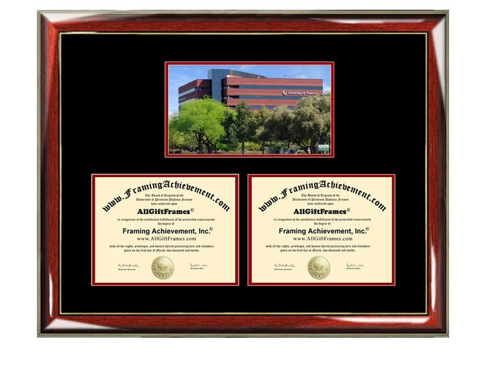 University of Phoenix Double Diploma Frame Campus Photo UOP Dual Certificate Two Degree Framing Holder Case 2 Graduation Graduate Gift