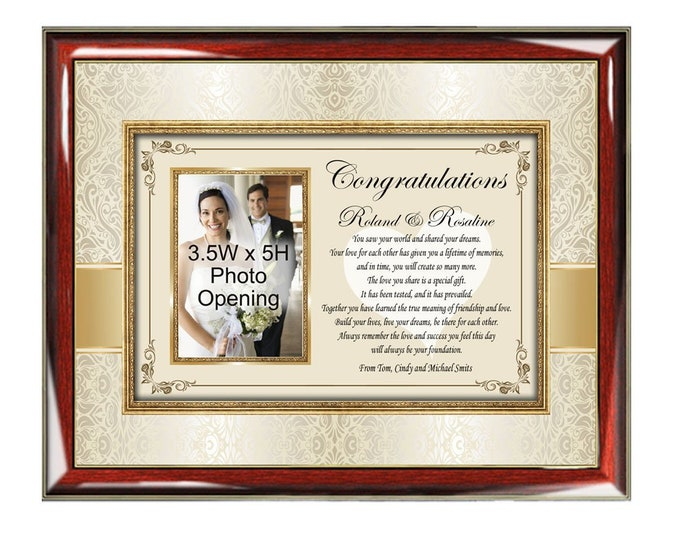 Wedding Frame Bride Groom Couple Personalized Wedding Photo Frame Gift Personalized Luxury Designer Plaque Congratulation Best Wish Message