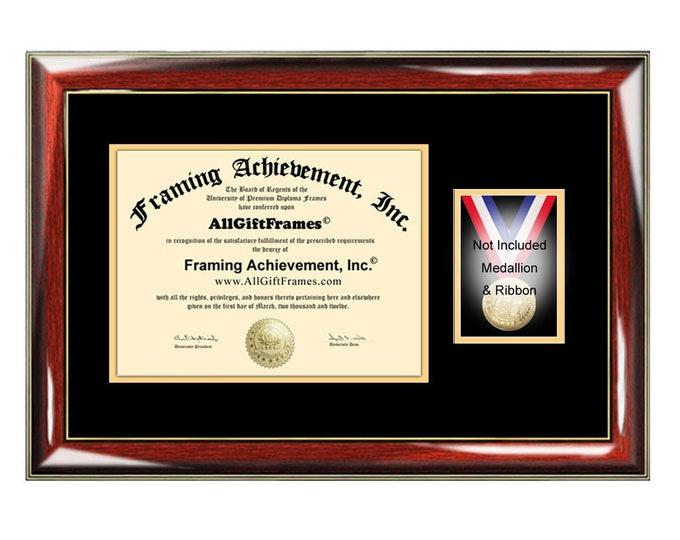 University Diploma Frame Medallion Ribbon Box Honors Medal Case Document Certificate Plaque Coin Graduation Medal Holder Graduate Gift