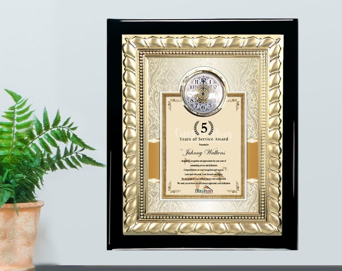Unique Clock Gift Plaque Employee Service Award Year Month Coworker Boss Friend Wall Engraved Custom Present Trophy Personalized Message