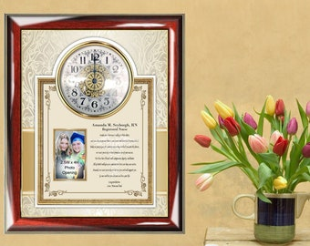 Personalized Nurse Gift Graduate Photo Picture Clock Message Plaque Doctor Nursing Nurse Practitioner RN bsn msn dnp lpn Graduation