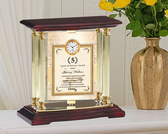 Custom Gold Clock Gift Standing Column Plaque Thoughtful Best Employee of Year Month Celebration Service Award Present Achievement Coworker