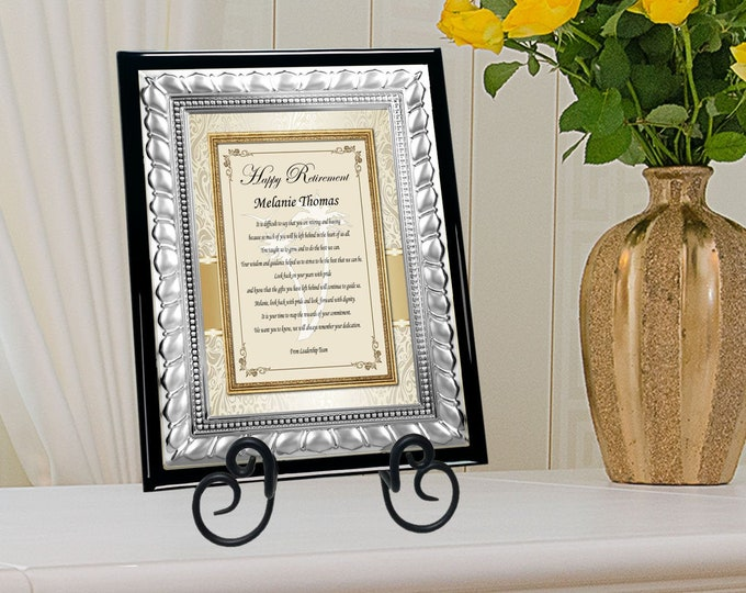 Silver Metal Retirement Service Award Plaque Present Employee Coworker Personalized Plaque Custom Congratulations Retiree Message Present