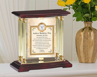 Custom Gold Metal Desk Mantel Present Swivel College Law Student School Graduation Gift Mini Clock JD ESQ Graduate Lawyer Attorney Graduate
