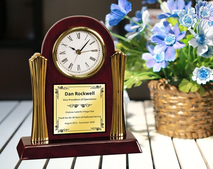 Personalized Recognition Arch Clock for Retirement Wedding Anniversary Gold Engraving Best Luxury Mantel Table Clocks Executive Gift Present