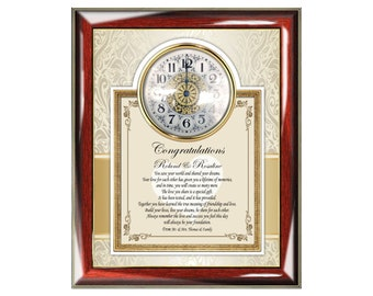 Personalize Wedding Gift Frame Plaque Poem Clock Congratulation Unique Poem Bride Groom Present Best Wishes Poetry Best Couple Creative