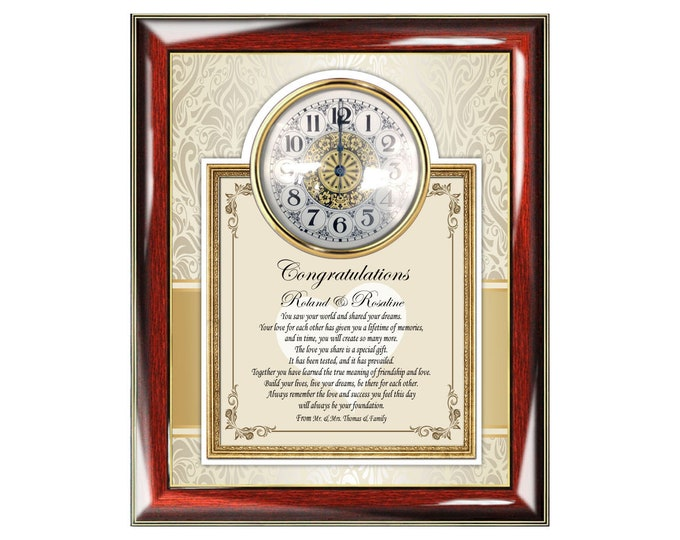 Personalize Wedding Gift Frame Plaque Poem Clock Congratulation Unique Poem Bride Groom Present Best Wishes Poetry Best Couple Creative