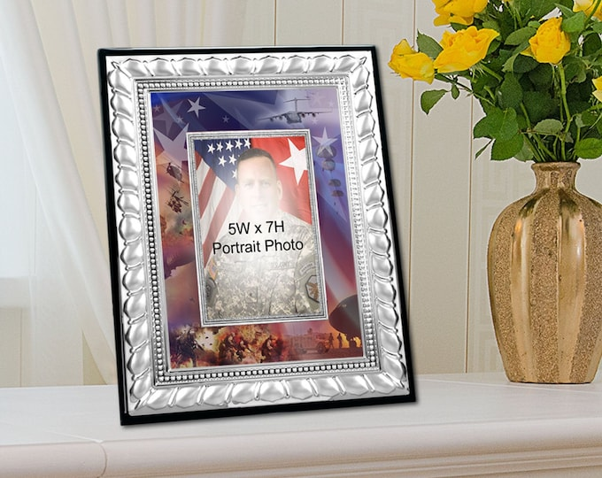 Army Picture Frame Photo Military Collage Matted 5x7 Veteran Photograph Silver Table Plaque Service Award Retirement Gift Soldier Promotion