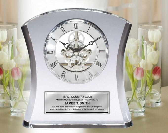 Engraved Clock Crystal Curve Retirement Desk Award Recognition Sleek Table Shelf Clock with Da Vinci Dial and Silver Engraving Plate Wedding