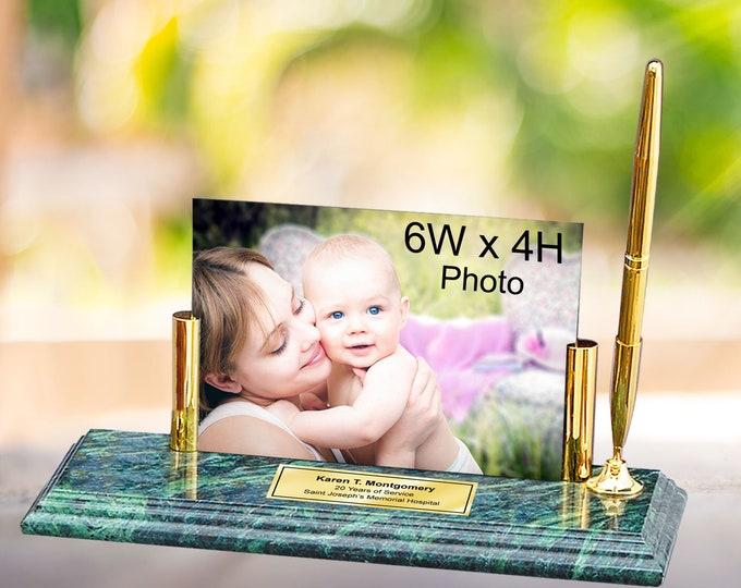 Engraved Clock Marble Pen Set Photo Frame Desk Picture Frame Plaque Pen Holder Business Gift Birthday Retirement Wedding Anniversary Present