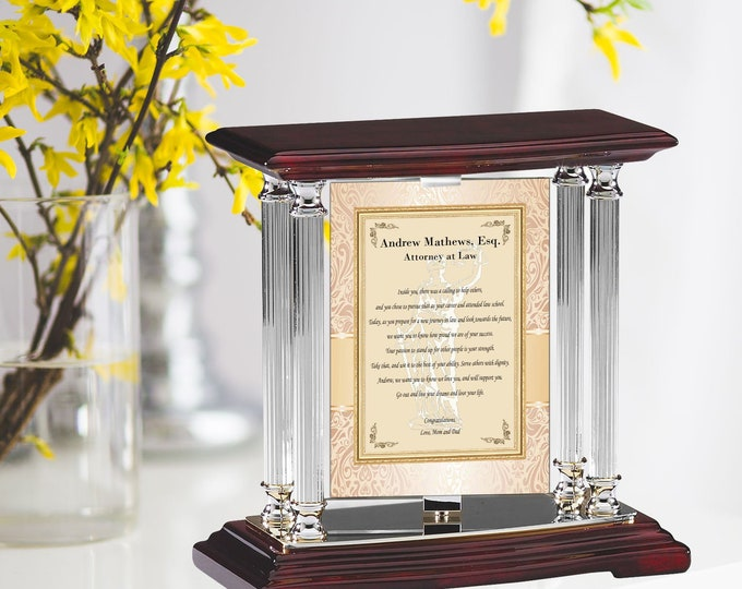 Personalized Law Silver Desk Mantel Column School Graduation Swivel Message Panel Attorney Graduate Gift Present Student Lawyer Passing Bar