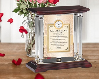 Law Student School Graduation Message Gift Mini Clock Registered Attorney Legal Professional Lawyer Paralegal Silver Metal Engrave
