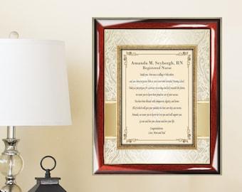 Personalized Graduate Gift Frame Present Poem College Her Doctor of Nursing Registered Nurse Practitioner Licensed Practical Vocational