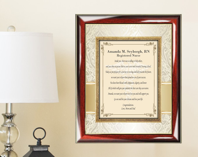 Personalized Graduate Gift Frame Present Poem College Her Doctor of Nursing Registered Nurse Practitioner Licensed Practical Vocational
