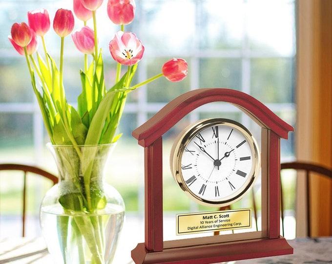 Arch Wooden Engraved Clock Gold Bezel Glass Panel Table Wood Mantel Graduation Retirement Employee Service Award Gift Retire Anniversary