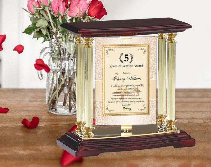 Employee Service Award of Year Month Plaque Custom Message Gift Present Gold Desk Mantel Column Recognition Colleague Thoughtful Trophy