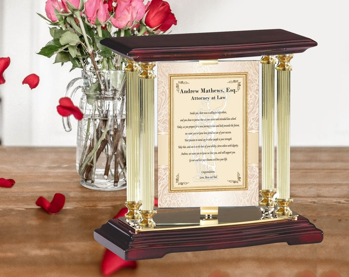 Personalized Juris Doctor Gift Brass Gold Desk Mantel Column Lawyer School Graduation Display Table Top Rotating Billboard Attorney JD Gift
