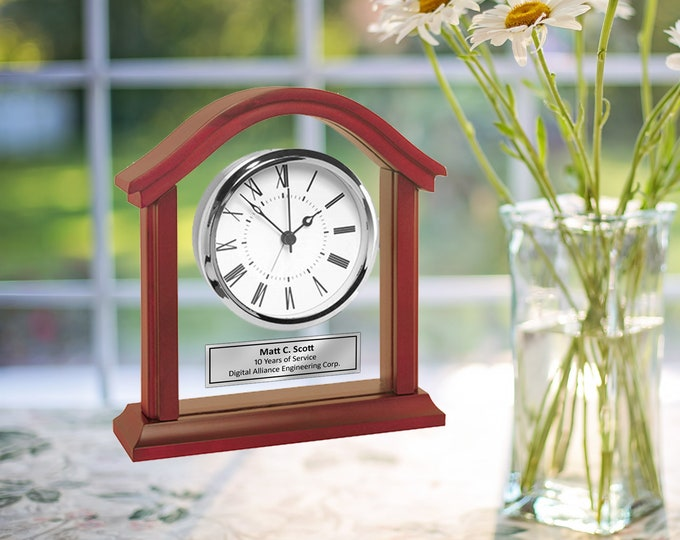 Engrave Clock Wood Glass Engraving Silver Desk Employee Service Award Table Engraving Clock Retirement Gift Present Recognition Retire