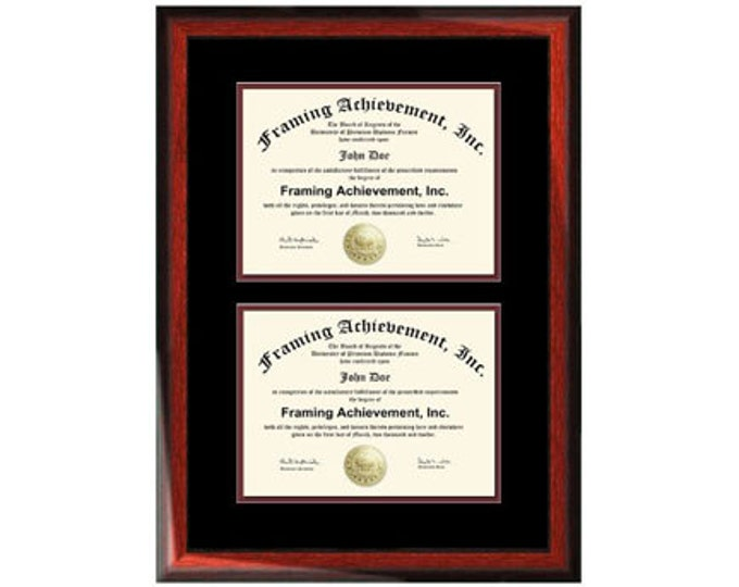 Double Diploma Frame Double Degree Plaque Two College Certificates Satin Rich Mahogany Top mat Black Inner matted Maroon Dual Document