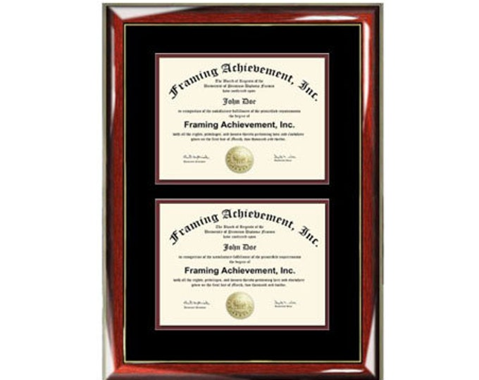 Double Degree Frame Dual Diploma Frames Two Certificate Glossy Prestige Mahogany with Gold Accents Top mat Black Inner matted Maroon