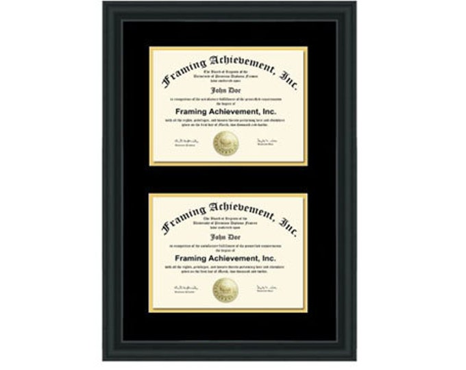 Double Diploma Frame Dual Certificate Frames Two Document Satin Matte Black Top mat Black Inner matted Gold Double Document Plaque