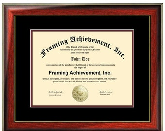 Document Certificate Frames College Degree Graduation Diploma Frame Satin Rich Mahogany Gold Accents Top matted Black Inner mat Maroon