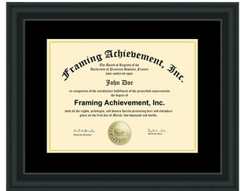 Diploma Frames Graduation Certificate Frames Satin Rich Black Top matted Black Inner mat Gold Degree Document Degree Plaque
