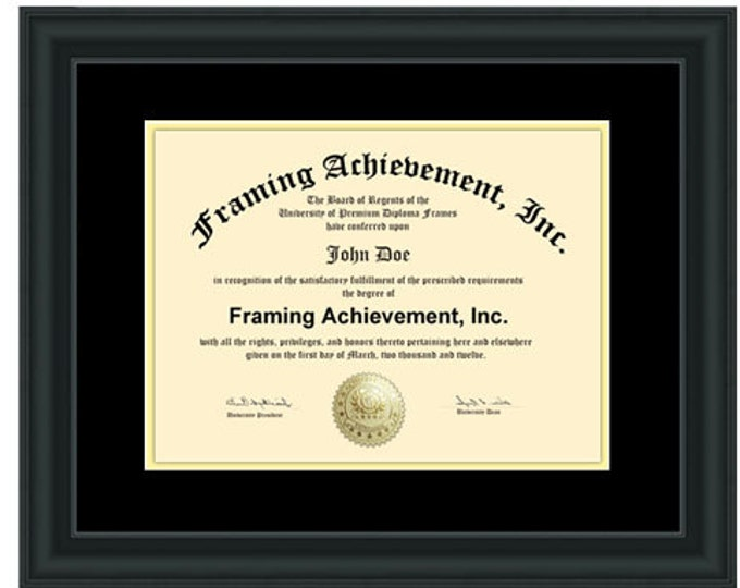 Diploma Frames Graduation Certificate Frames Satin Rich Black Top matted Black Inner mat Gold Degree Document Degree Plaque